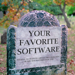 Tombstone representing abandoned software