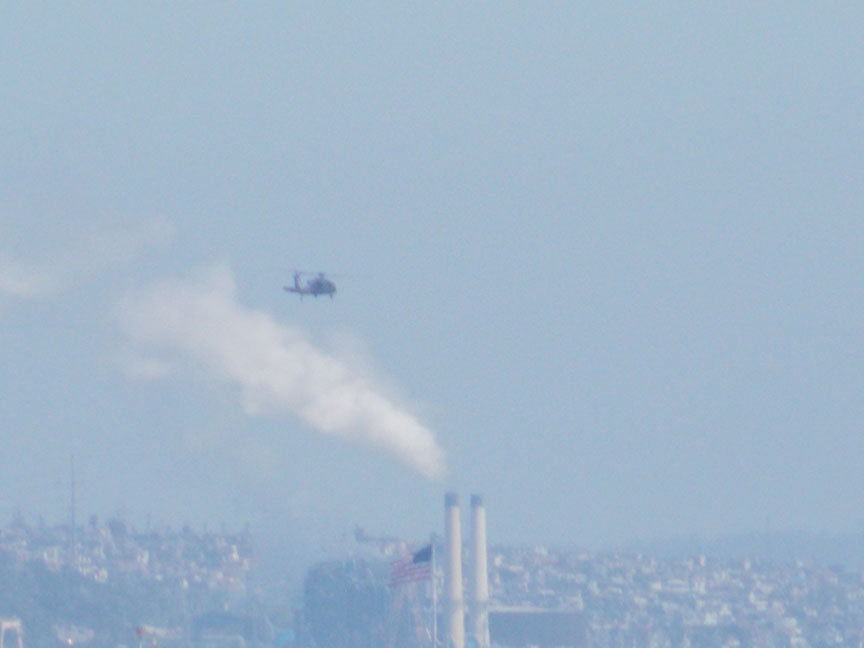 helicopter over power plant