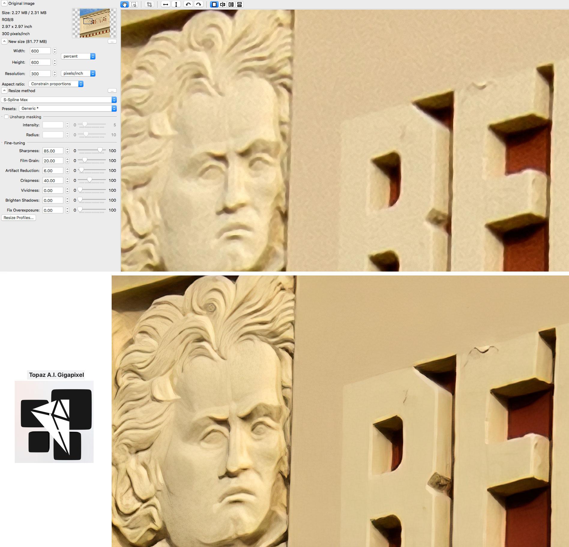 Topaz A I  Gigapixel vs  PS & ON1 (more tests) – Plugs 'N Pixels