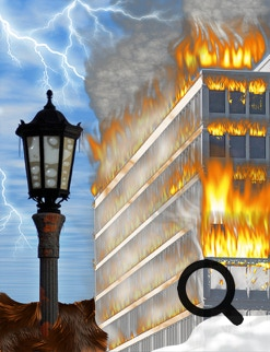 Lamp and office building image after treatment with fire, cloud, lightning and smoke effects using the Alien Skin Photo Bundle