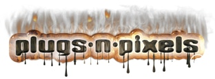 Plugs 'N Pixels logo treated with effects from the Alien Skin Photo Bundle