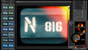 Screenshot of the Alien Skin Photo Bundle showing the results of a preset applied to a sign with letters and numbers