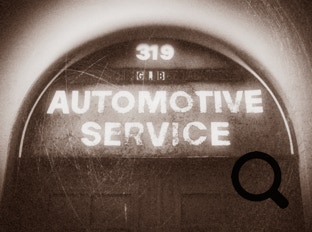 Automotive service sign treated with the Alien Skin Photo Bundle, example 1
