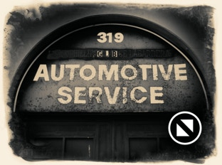 Automotive service sign treated with the Alien Skin Photo Bundle, example 3