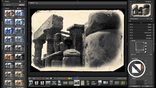 Screenshot of the Alien Skin Photo Bundle showing the results of a preset applied to an Egyptian temple