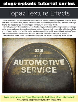 PDf tutorial covering the functionality of the Topaz Texture Effects Photoshop plug-in